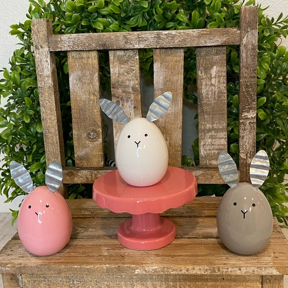 (3) Egg Shaped Easter Bunnies Tier Tray Decor